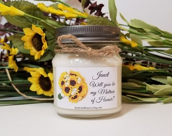 Will You Be My Matron of Honor Gift - Personalized Matron of Honor Candle - Bridal Party Gifts - Wedding Candles - 8oz Soy Candles Handmade