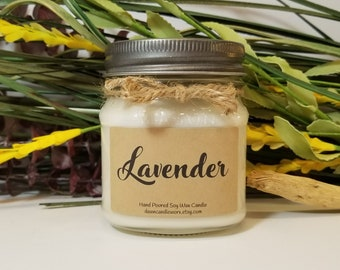 Lavender Aromatherapy Candle - Scented Candle - 8oz Soy Candle - Mason Jar Candles - Birthday Present - Mother's Day Gift for Mom