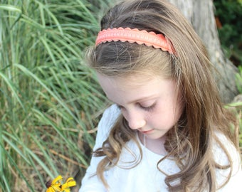 Merino Wool Felt Headband - Coral / Embroidered Headband / Girl's Fashion / Hair Accessories / Mommy and Me