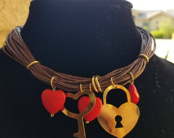 Heart lock with key necklace