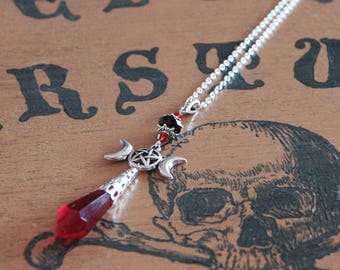 Red Crystal pendulum necklace
