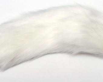 "Kitten Tail Snow White 15.6"" (40 cm) Faux Fur with Silicone or Metal Plug Butt Anal Plug Fetish Cosplay Petplay Furry Animal"