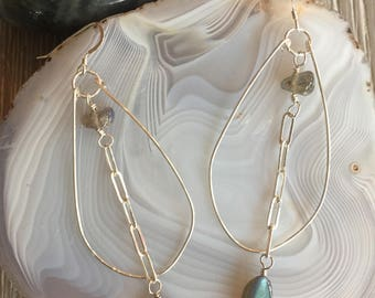 Sterling Silver, Labradorite Gemstone Hoop Earrings, Wire Wrapped, Sterling Silver Wire and Chain, Boho Chic, Rustic Elegance