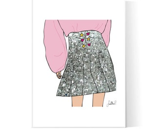 Glitter Skirt Collage Illustration / Fashion Poster / Glitter Fashion Illustration / Teen Art / Printable / Instant Download / 2JPEG Files