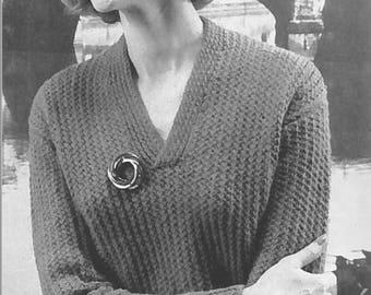 Vintage Women's V-neck Ribbed Sweater Knitting Pattern PDF 1958
