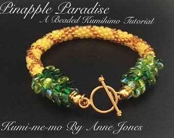 Pineapple Paradise - A beaded Kumihimo tutorial
