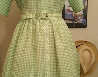 Green Gingham Cotton Dorothy Dress