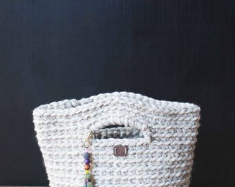 Ready to ship! Medium crocheted basket/tote with handles and beaded tassel