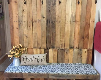 Hall tree made from reclaimed wood, pallet wood. Family Center, rustic country hall tree, entryway furniture. Local pickup item San Diego