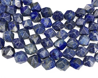 Faceted Lapis Lazuli Beads, Star Cut Beads, Gemstone Beads, 8mm, 10mm