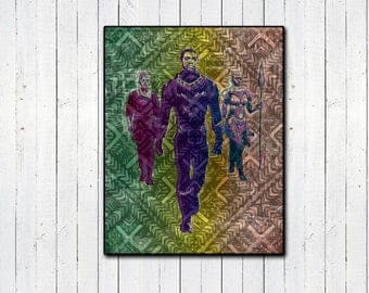 Black Panther Print, T'Challa, Marvel, Captian America, MCU, The Avengers, African, Chadwick Boseman, Comic Book Prints, Nerd Gifts