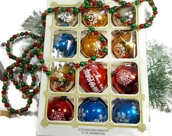 VINTAGE CHRISTMAS ORNAMENTS Boxed Christmas Tree Decorations Multi Colored Glass Christmas Balls Mercury Style Mid Century
