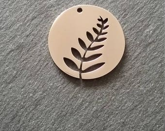1 Stainless Steel Disc Cutout Leaf Fern Pendant Charm 29mm