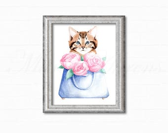 Original Watercolor Painting, Painting of Cat, Fashion Illustration, Gifts for Her, Cat Lover Gift, Home Decor, Office Decor, 9x12