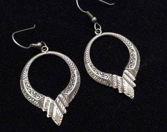 925 Sterling silver faceted drop dangle earrings, southwestern style dangle earrings