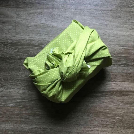 Furoshiki Gift Wrapping Cloth - Japanese Cotton Furoshiki - Lime Dot Design by Kendo Girl