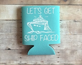 ship faced beer can cooler holder hugger vacation bachelorette party cruise girls weekend