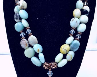 Amazonite and Swarovski Crystal Double Strand Necklace