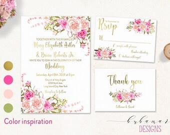Printable Floral Wedding Invitation Suite Boho Pink Peonies Wedding Invite Set Gold Romantic Flowers Digital Wedding Invite - WS029