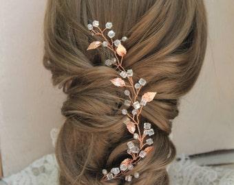 Fairytale Gift Rose gold hair vine Rose gold hair piece Rose gold hair accessories Bridal headpiece Wedding hair piece Wedding headband vine