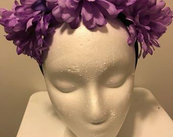 Purple Flower Crown, Flower Crown, Boho Flower Crown, Flower Headpiece, Flower Headband, Purple Flowers, Gift