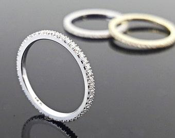 Diamond Band ring, Wedding Band, 14k/18k solid gold Full Eternity Band set with diamonds,Diamond Stackable Ring, Diamonds Engagement Ring.