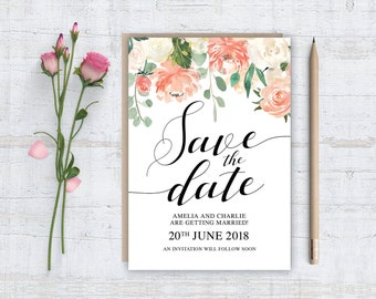 Printable (DIY) PEACH ROSES - Save The Date - A6