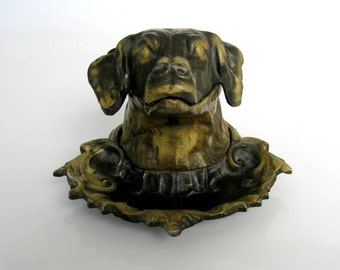 Mid Century / Hunting Dog  Ashtray / Dog's Head / Lidded Ashtray / Cast Metal / Bronze Finish/ Soviet Russian / Collectibles/ Man Cave Decor