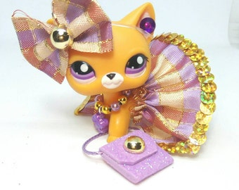 Littlest Pet Shop LPS custom  outfit clothes  accessories lot with  lps skirt lps bow  * Cat not included *
