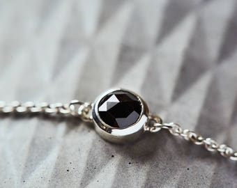 rose cut, bracelet, sterling silver, gold, classic, light, black recycled stone, non-traditional, eco-friendly jewelry, gift for her.