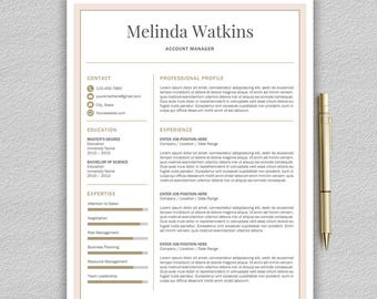 Resume Template / CV Template for Word + Cover Letter | Modern Resume Template | Professional Resume Template | Creative CV | Modern CV