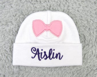 Personalized micro preemie, preemie or newborn hat with pink bow - baby shower gift, newborn pictures, take home, preemie gift, NICU clothes