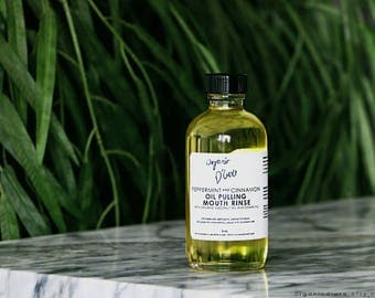 Peppermint and Cinnamon Oil Pulling Mouth Rinse / ORGANIC / 4 oz.
