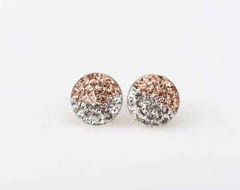 Sterling Silver Pave Radience Stud Earrings, Swarovsky Crystals, Half and Half, Light Peach(Beige) and Crystal, Unique Style Stud Earrings.