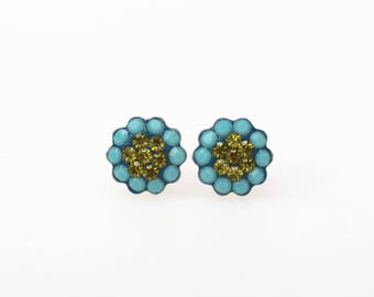 Sterling Silver Pave Radiance Stud Earrings, Swarovsky Crystals, 7mm Flower, Turquoise and Olivine Color, Unique BlingBling Korean Style