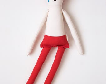 Legendary Rockstar David Bowie Cloth Doll: handmade with organic cotton