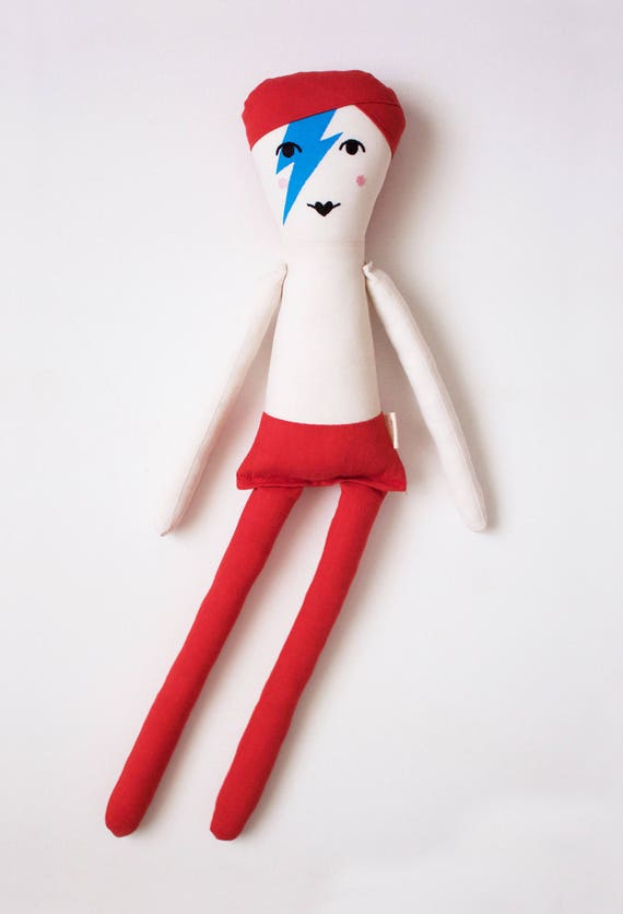Legendary Rockstar David Bowie Cloth Doll: handmade with eco-friendly material