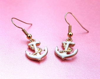White and gold anchor earrings, nautical jewellery, anchor drop earring, dangle earrings, anchors, maritime jewellery