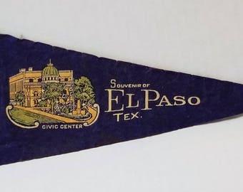 El Paso, Texas - Vintage Pennant