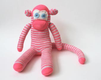 Piglet the Sock Monkey | Handmade, Soft Toy, Birthday Gift, Stripy socks, keep sake, personalised monkey, baby shower, monkey gift, mascot