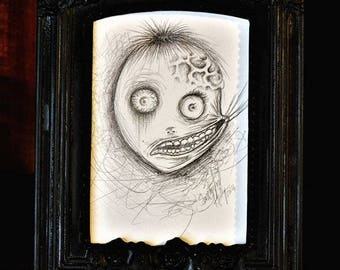 "Creepy Cute Horror Pencil Original Drawing Illustration 3.5 x 5 i size ""Dentist Boy"" 2014"