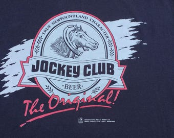 "Vintage 90's Jockey Club Beer ""The Original"" True Newfoundland Character Made in Canada Fruit of the Loom XL t-shirt"
