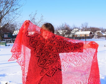 Royal wedding lace shawl, knitted in red kid mohair on silk