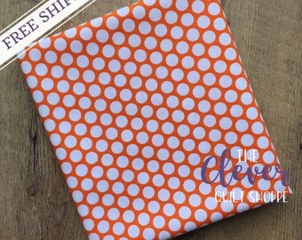 White Honeycomb Dot on Orange for Riley Blake Designs Basics (Yardage, 100% Cotton Quilting Fabric)