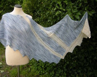 Triangle, hand knit, shawl, wrap, scarf, shawl kid mohair, blue, white
