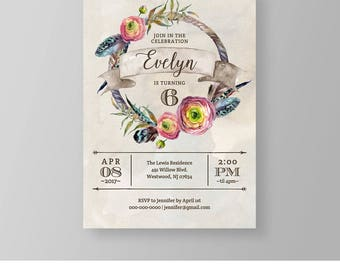 Girl Birthday Invitation Template, Printable Boho Birthday Party Invite, Rustic, Tribal, Instant Download, 100% Editable, Templett #020GBD