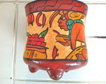 Mayan Tripod Pottery/Mayan hand painted pottery/Mayan Pottery/Mayan Art/Mayan clay pottery/Mexico Art/Pre Columbian Pottery/Aztec Pottery