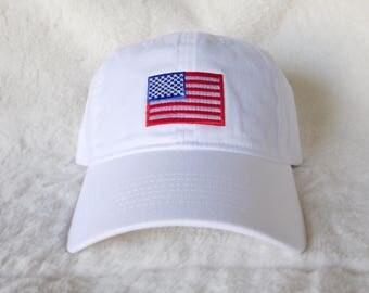 4th of July Dad Hat, American Flag Dad Hat, Fourth of July Baseball Hat, Dad Hat, Embroidered American Flag Dad Hat, White July 4th Dad Hat