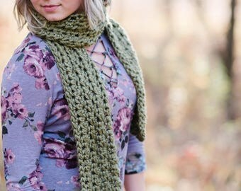 Women's Crocheted Scarf / Crocheted Scarf / Chunky Crocheted Scarf / Olive Scarf