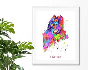 Maine Watercolor Map #4 Art Print, Poster, Wall Art, Contemporary Art, Modern Wall Decor, Office Decor